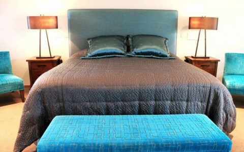 Lily bedhead (shape: square) & Frame quilted bedspread (client Heather Dowsett, Brighton VIC)